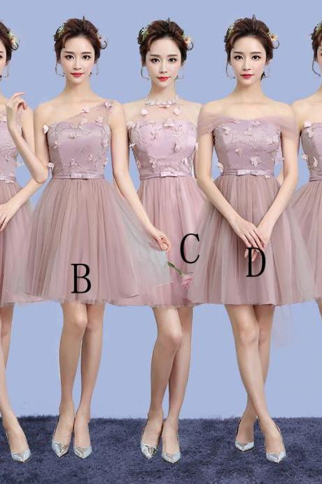 Cute Gauze Bridesmaid Wedding Dress Party Prom Gown - Pink