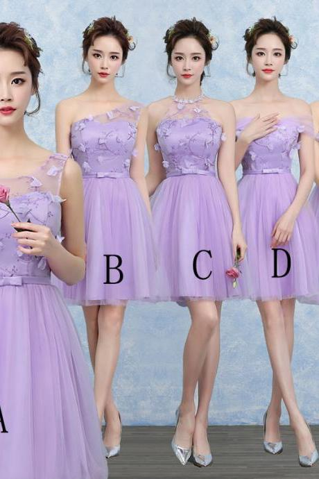 Cute Gauze Bridesmaid Wedding Dress Party Prom Gown - Purple