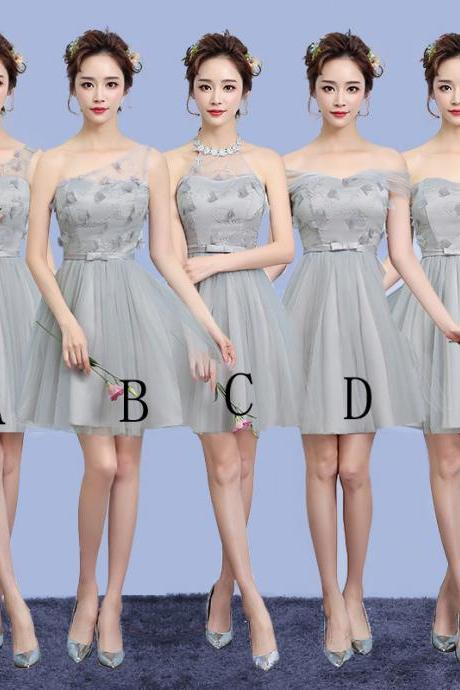 Cute Gauze Bridesmaid Wedding Dress Party Prom Gown - Grey
