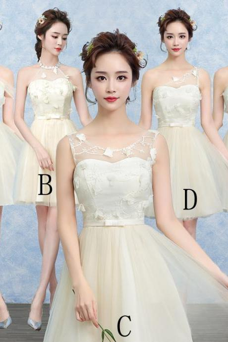 Cute Gauze Bridesmaid Wedding Dress Party Prom Gown - Beige
