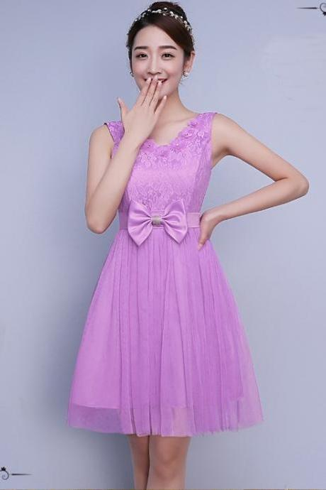 Cute Bow Mini Bridesmaid Dress Party Prom Gown - Lavender