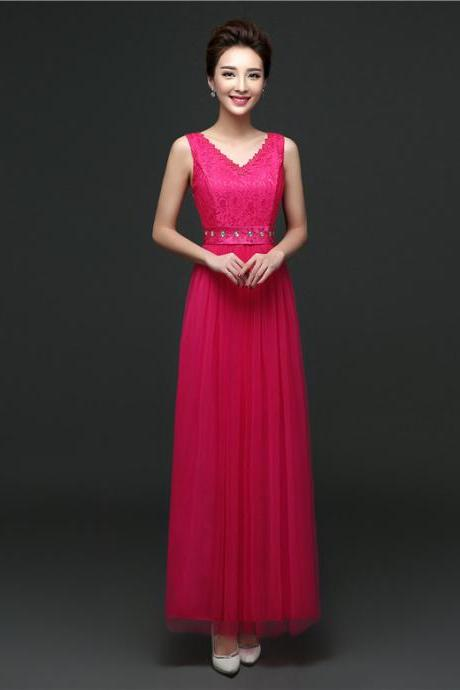 New Arrival Sleeveless Bridesmaid Dresses Long One Szie Evening Party Maid Dresses - Rose
