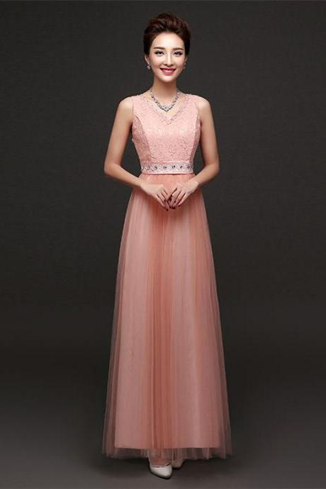 New Arrival Sleeveless Bridesmaid Dresses Long One Szie Evening Party Maid Dresses - Pink