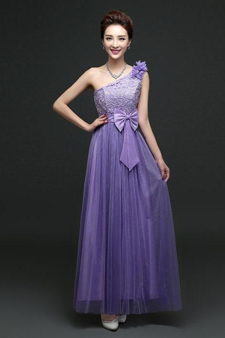 Cute One Shoulder Bow Bridesmaid Dresses Long One Szie Evening Party Maid Dresses - Purple