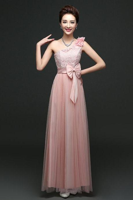 Cute One Shoulder Bow Bridesmaid Dresses Long One Szie Evening Party Maid Dresses - Pink