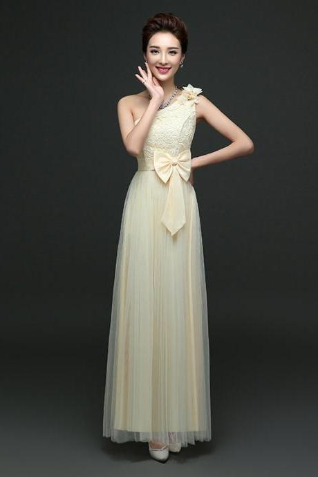 Cute One Shoulder Bow Bridesmaid Dresses Long One Szie Evening Party Maid Dresses - Champagne