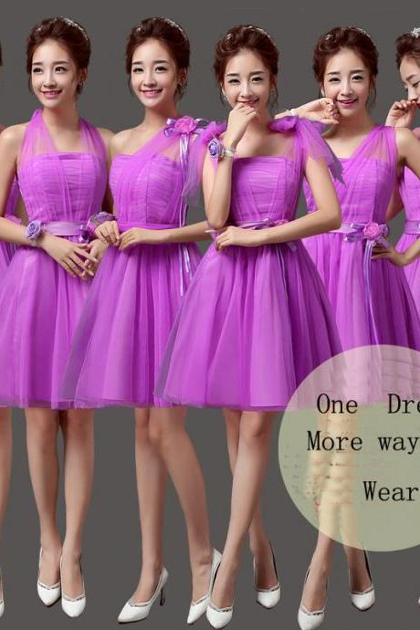 Convertible Bridesmaid Dresses Mini Cheap Wedding Bridesmaid Dresses Formal Party Dresses - Purple