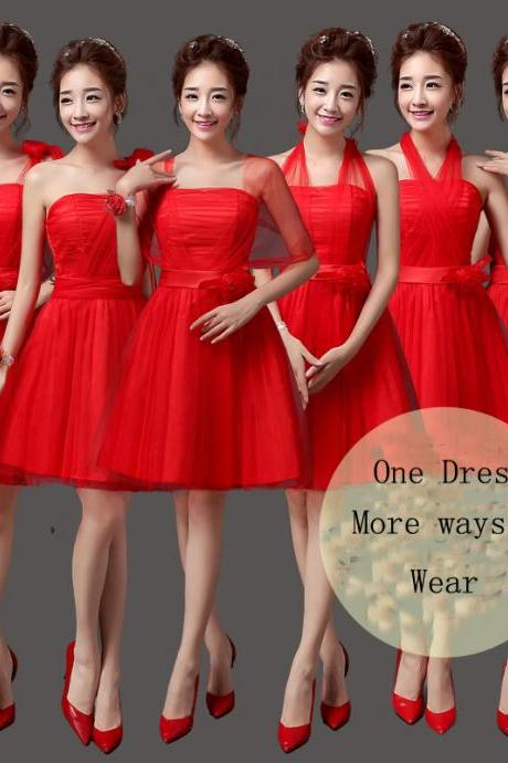Convertible Bridesmaid Dresses Mini Cheap Wedding Bridesmaid Dresses Formal Party Dresses - Red