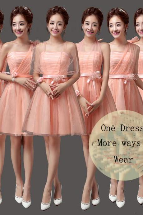 Convertible Bridesmaid Dresses Mini Cheap Wedding Bridesmaid Dresses Formal Party Dresses - Pink