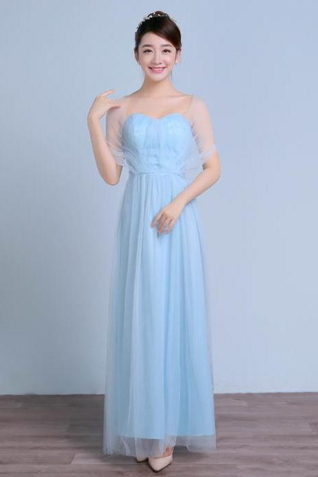 Convertible Long Wedding Bridesmaid Dresses Formal Party Dresses - Light Blue