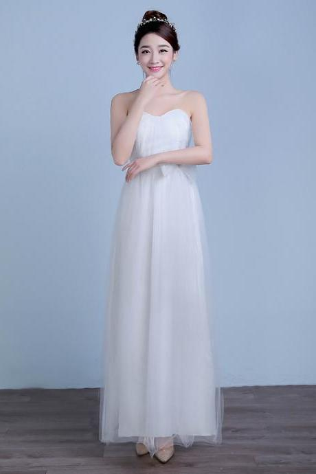 Convertible Long Wedding Bridesmaid Dresses Formal Party Dresses - White