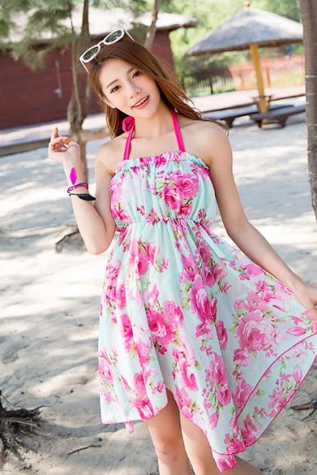 Sweet Women Printing Halter Swimsuit Beachwear Bathing Suit Swimwear Dress - Rose