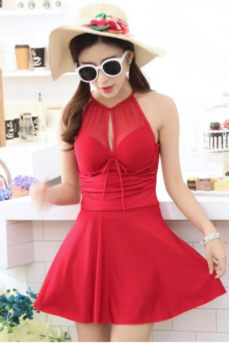 Sexy Swimsuit Dress Women High Halter Neck One Piece Swimwear Swimsuit - Red