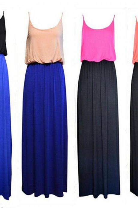 New Color Block Cotton Strappy Maxi Long Dress