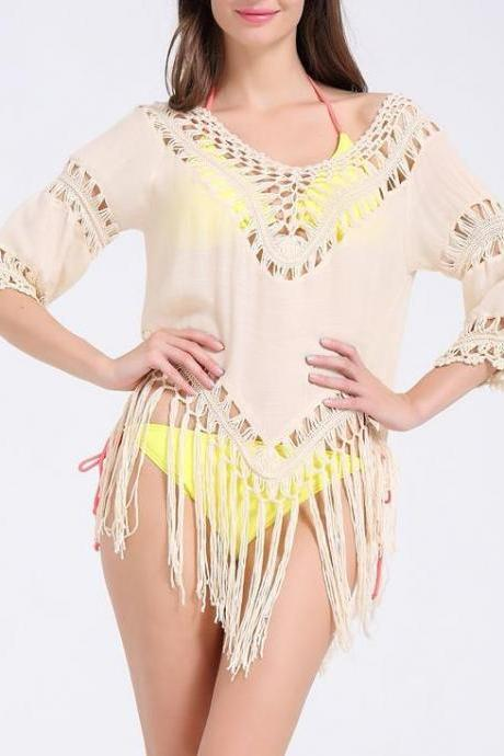 Beautiful Enchanting Half Sleeve Hollow Tassels Shirt Blouse For Woman