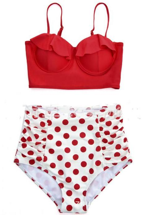Cute Women Red Dot Swimsuit Bathing suit Swimwear