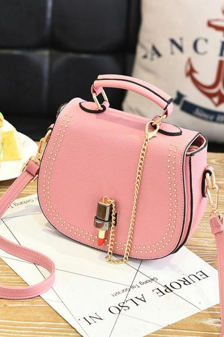 Small Flap Shoulder Bags Women Messenger Chain Cross Hand Bag Vintage Clutch Crossbody Mini Bag - Pink