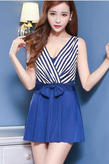 Stripe V Neck Bathing Swimming Swimsuit Dress - Blue