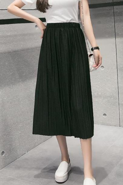 Spring And Summer Thick Chiffon Pleated Long Skirt - Black