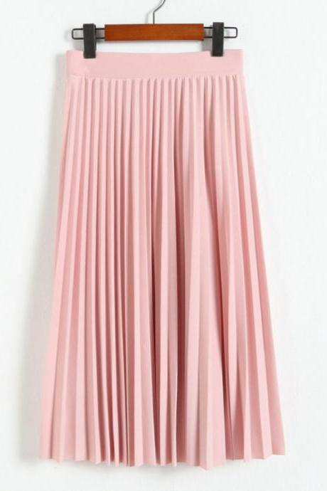Summer Skirts Womens High Waist A Line Solid Color Pleated Skirts - Pink