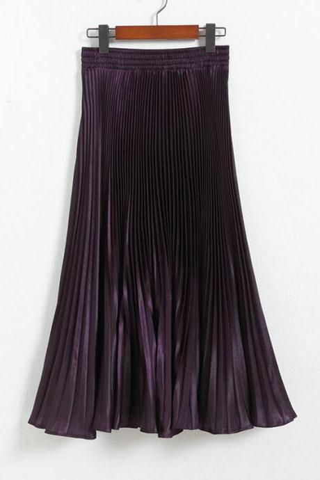 Autumn Satin Summer Casual Smooth Women Elastic Pleated Long Skirt - Purple