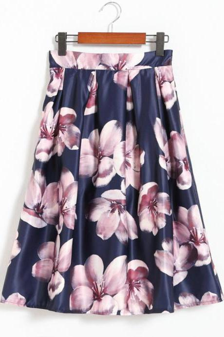 Sweet Printing Navy Blue Skirt For Women