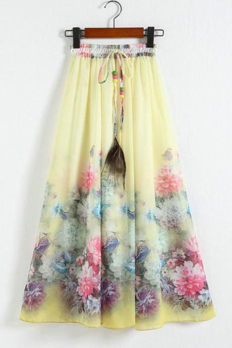 New Yellow Printing Pattern Chiffon Long Skirt For Women
