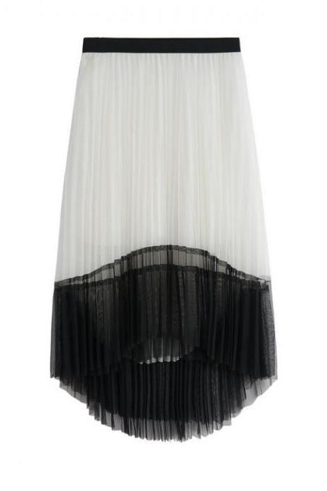 New Women Irregular Pleated Skirts - White