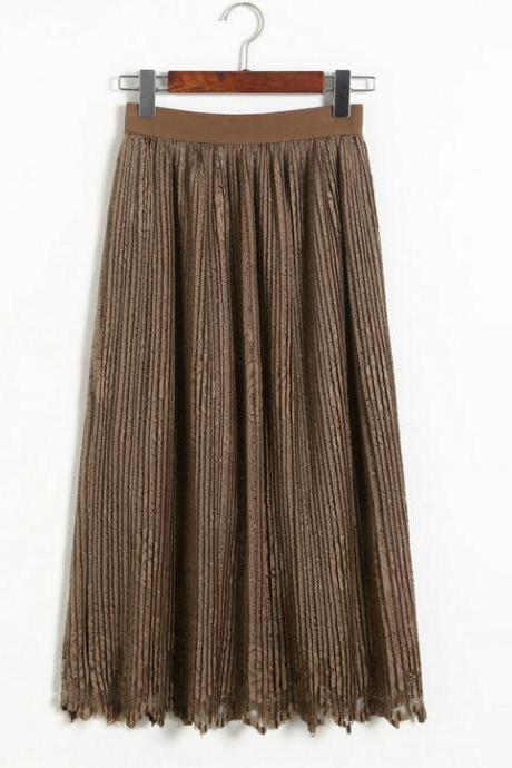 New Lace Hollow Pleated Skirts - Khaki