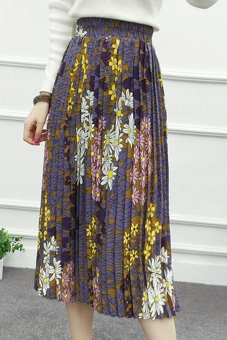 Flower Print Skirt - Purple