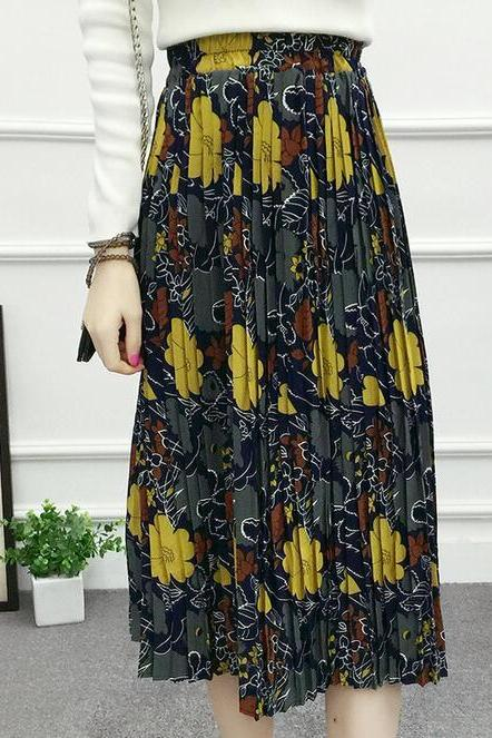 Flower Print Skirt - Yellow