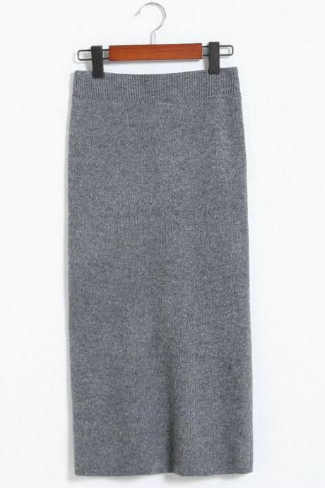 New Spring Autumn Sexy Pencil Skirts Women Knit Package Hip Long Skirt - Grey