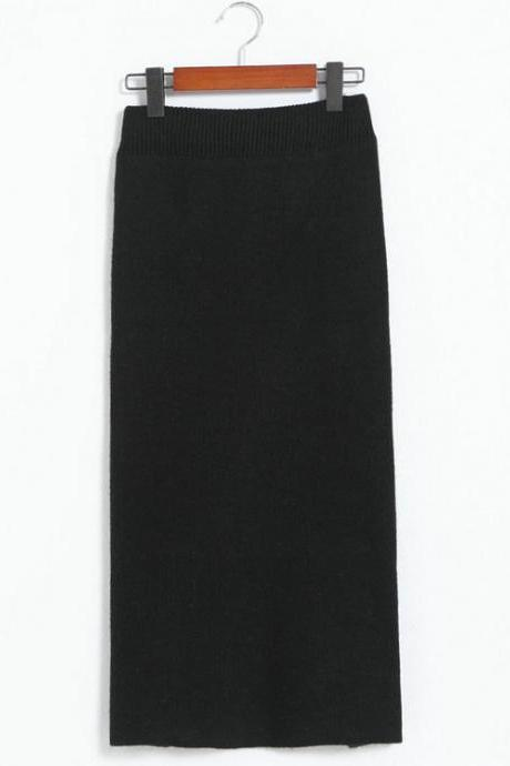 Black Midi Skirt Featuring High Slit