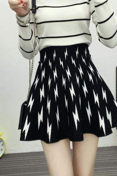 New Lightning Pattern Knitting Slim A-line Skirt