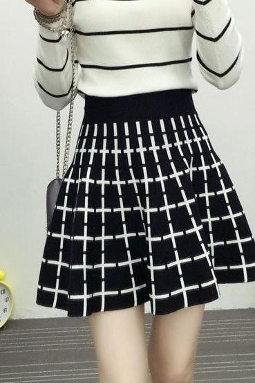 New Cross Pattern Knitting Slim A-line Skirt