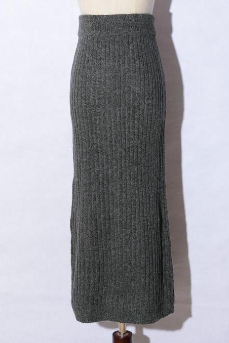 Long Slim Knitted Pencil Skirts - Dark Grey