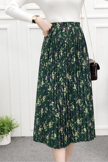 Green Color Printing Long Maxi Skirt