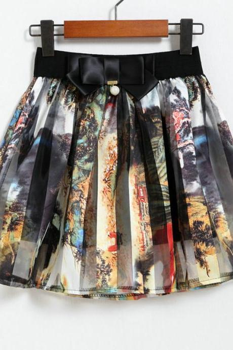 Spring Summer Casual Floral Fashion Skirts - Yellow