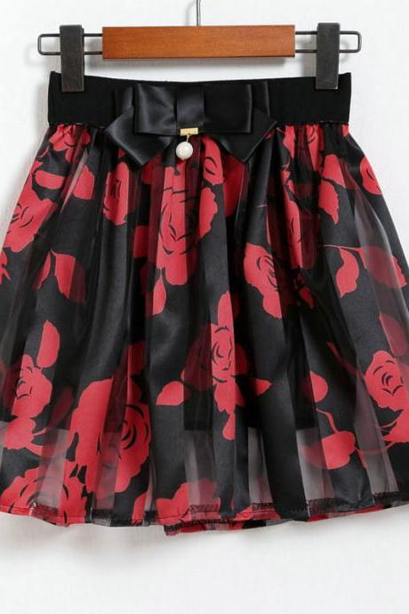 Red Floral Pleated Midi Skirts