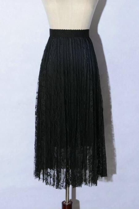 Black Lace Skirts Womens Long Skirt