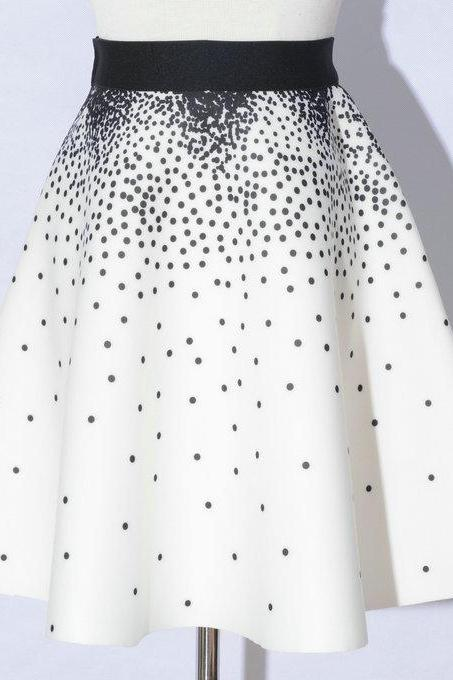 Elegant Printing White Color Dot Pattern A-Line Skirts