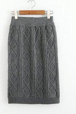 Autumn Winter High Waist Knitting Skirt - Grey