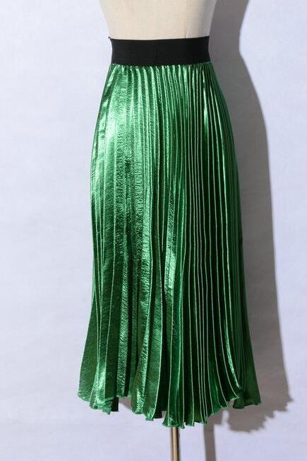 Autumn satin long skirt summer Casual smooth women skirt high waist skirt Elastic pink pleated skirt - Green