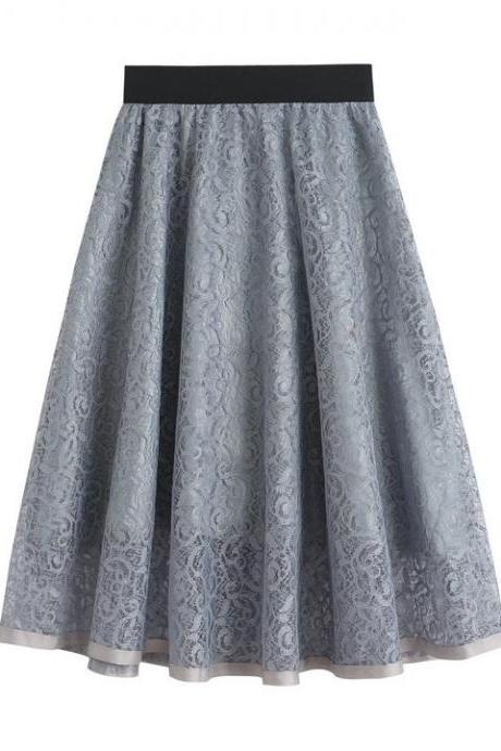 Grey High Waist Lace A Line Midi Skirt