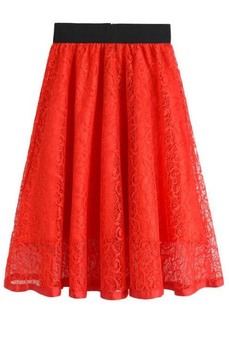 New High Waist Gauze Skirt Lace Hollow Female Skirt - Red