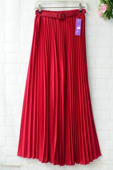 Chiffon Pleated Bohemia Long Skirt - Wine Red