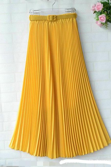 Chiffon Pleated Bohemia Long Skirt - Yellow