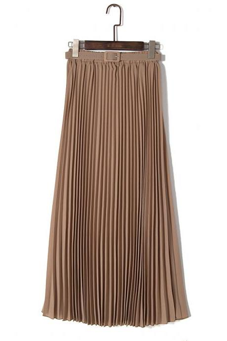 Chiffon Pleated Bohemia Long Skirt - Khaki