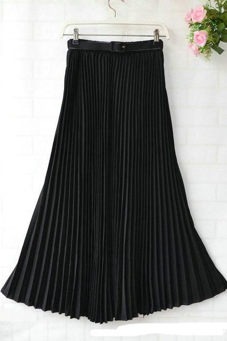 Chiffon Pleated Bohemia Long Skirt - Black