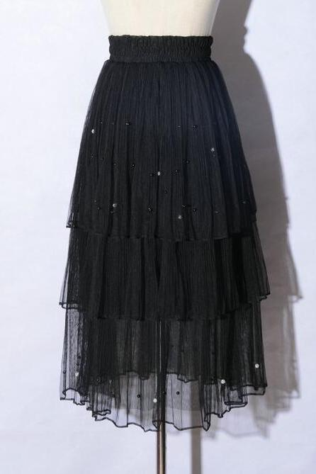 New Arrival Pleated Cake Skirt - Black